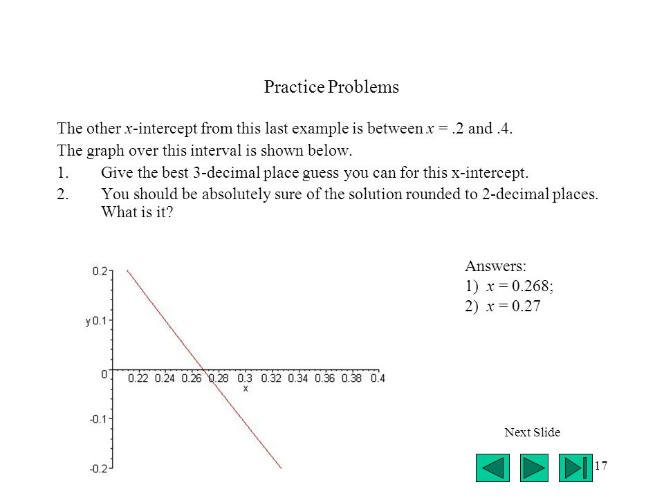 17 Practice Problems The other x-intercept from this last example is between x =.2 and.4.