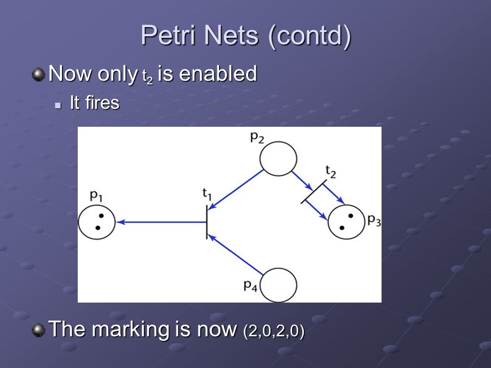 Petri Nets (contd) Now only t 2 is enabled It fires It fires The marking is now (2,0,2,0)