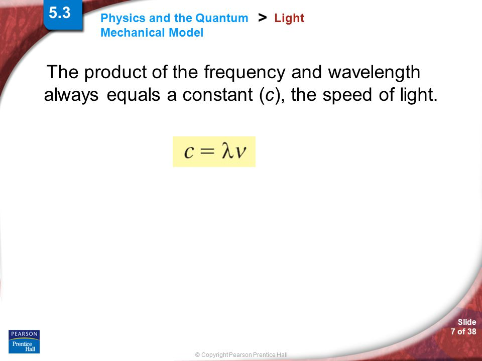 Slide 28 of 38 © Copyright Pearson Prentice Hall Physics and the Quantum Mechanical Model > Quantum Mechanics In 1905, Albert Einstein successfully explained experimental data by proposing that light could be described as quanta of energy.