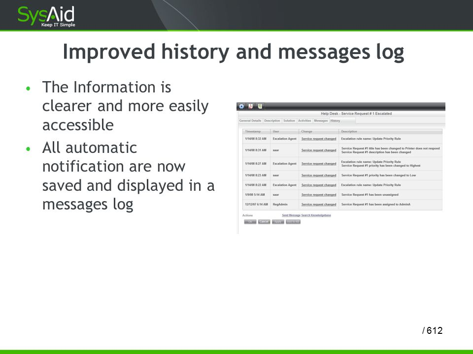 12/ 6 Improved history and messages log The Information is clearer and more easily accessible All automatic notification are now saved and displayed in a messages log
