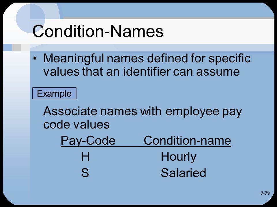 8-39 Condition-Names Meaningful names defined for specific values that an identifier can assume Associate names with employee pay code values Pay-Code