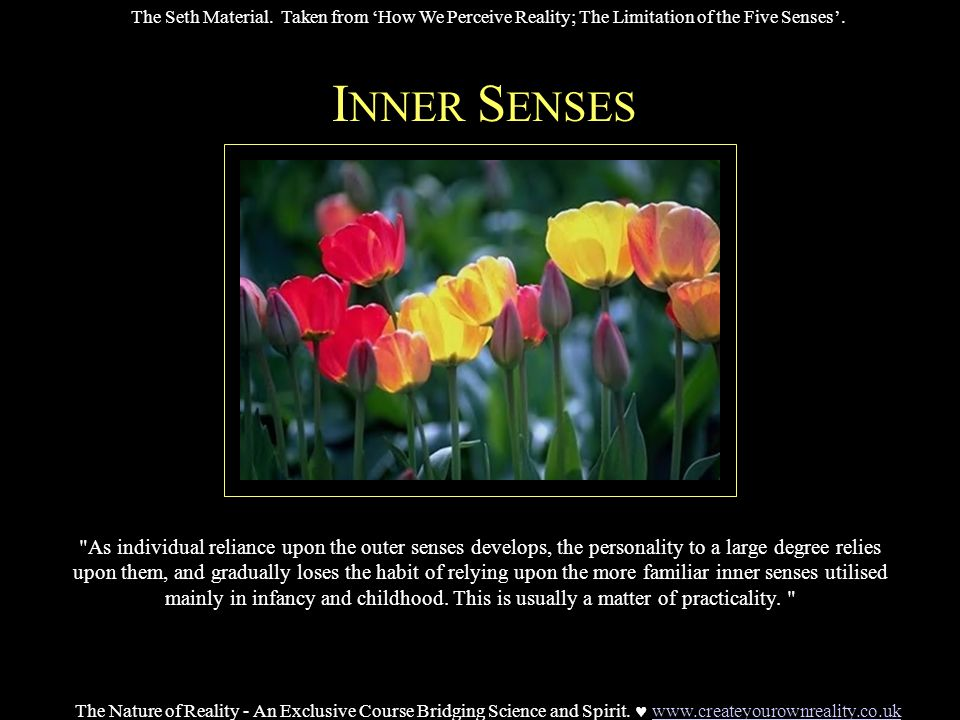 I NNER S ENSES As individual reliance upon the outer senses develops, the personality to a large degree relies upon them, and gradually loses the habit of relying upon the more familiar inner senses utilised mainly in infancy and childhood.