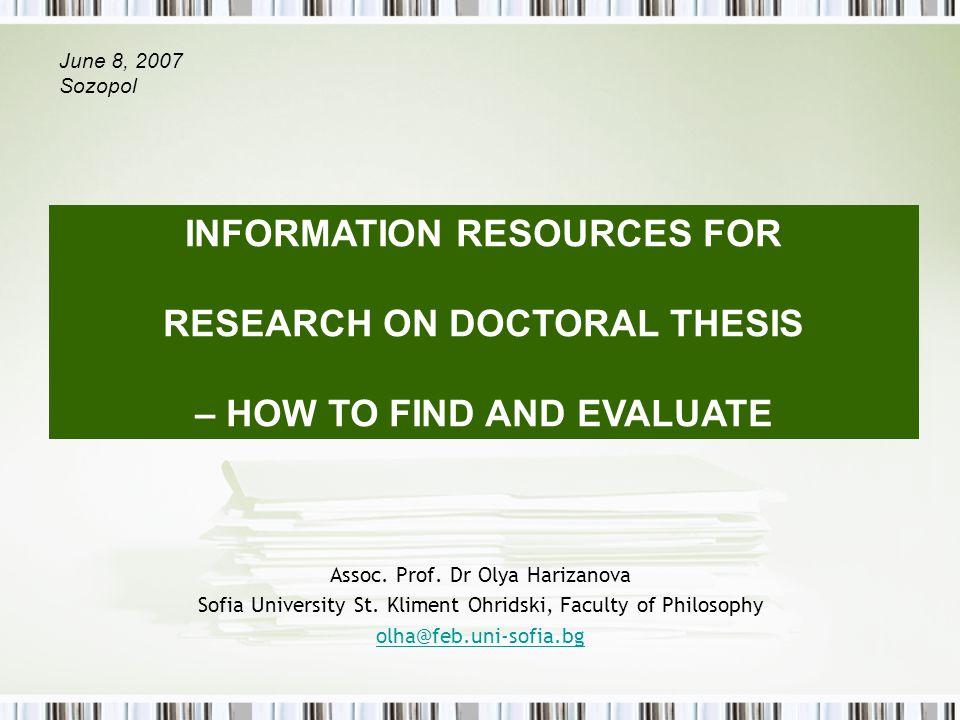 Assoc. Prof. Dr Olya Harizanova Sofia University St.