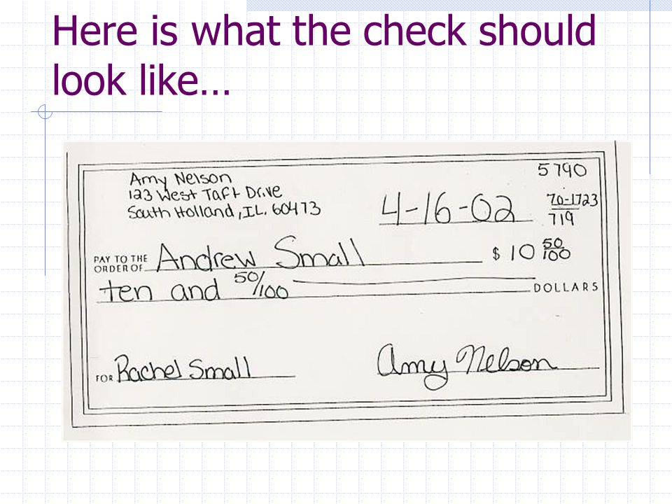 Here is what the check should look like…