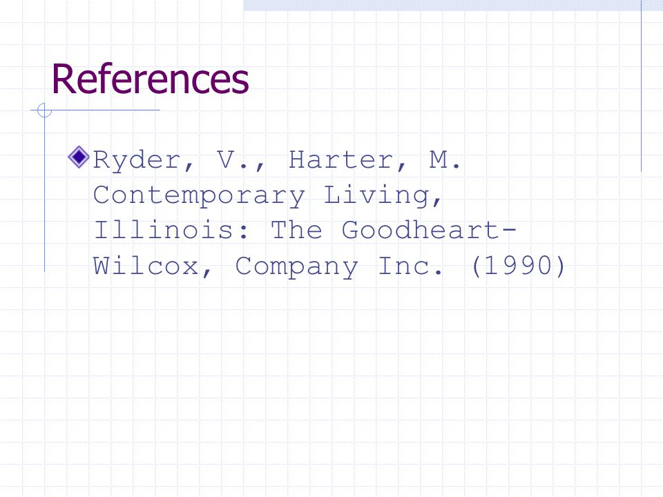 References Ryder, V., Harter, M. Contemporary Living, Illinois: The Goodheart- Wilcox, Company Inc. (1990)