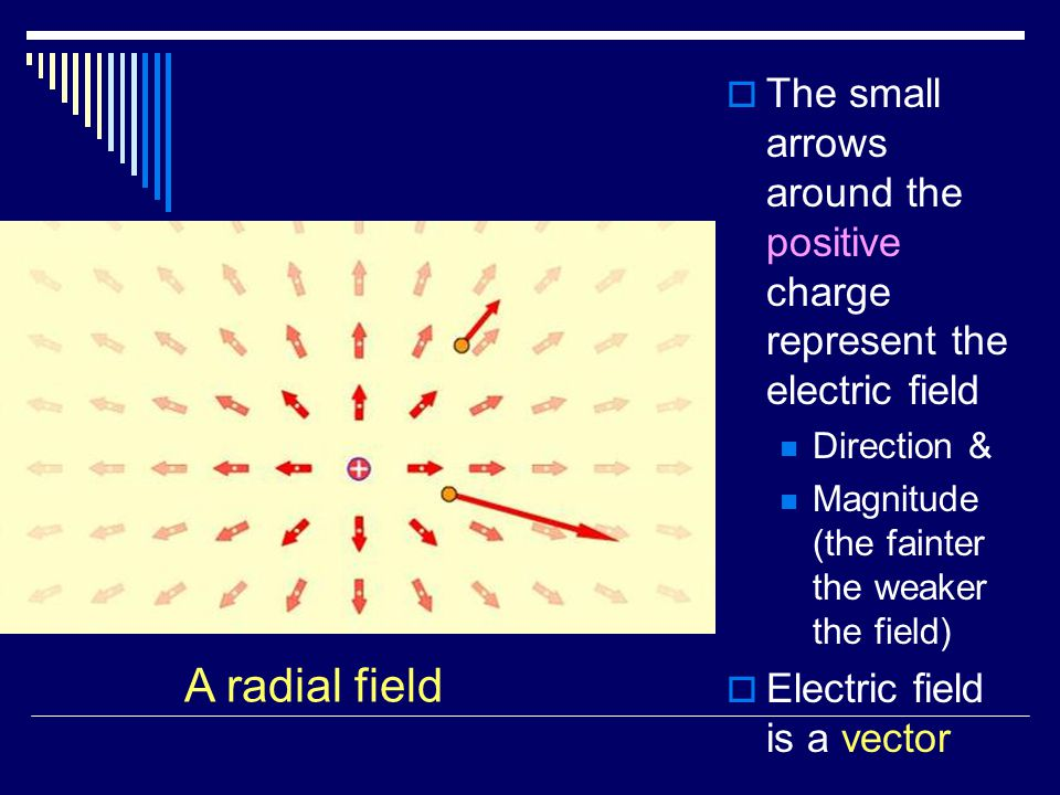  The small arrows around the positive charge represent the electric field Direction & Magnitude (the fainter the weaker the field)  Electric field is a vector A radial field