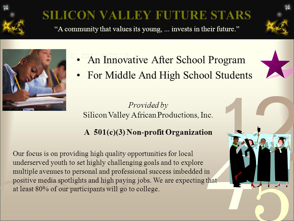 An Innovative After School Program For Middle And High School Students Provided by Silicon Valley African Productions, Inc.
