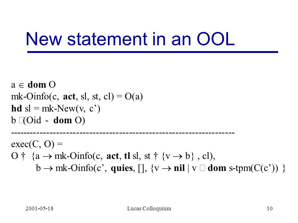 2001-05-18Lucas Colloquium10 New statement in an OOL a  dom O mk-Oinfo(c, act, sl, st, cl) = O(a) hd sl = mk-New(v, c') b  Oid -  dom O) -------------------------------------------------------------------- exec(C, O) = O † {a  mk-Oinfo(c, act, tl sl, st † {v  b , cl), b  mk-Oinfo(c', quies, [], {v  nil | v  dom s-tpm(C(c')) }