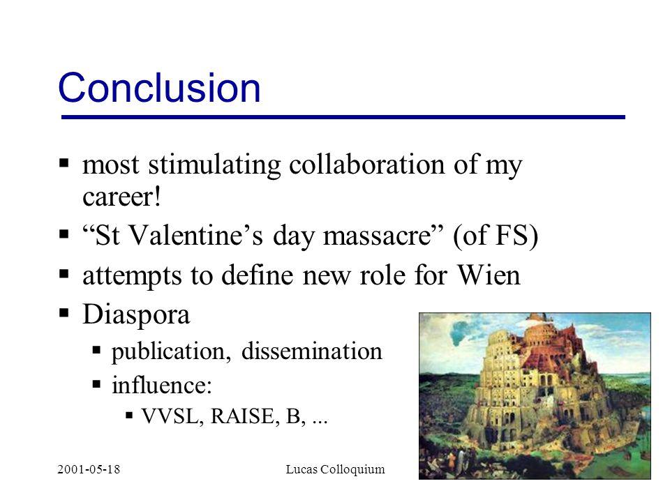 2001-05-18Lucas Colloquium14 Conclusion  most stimulating collaboration of my career.