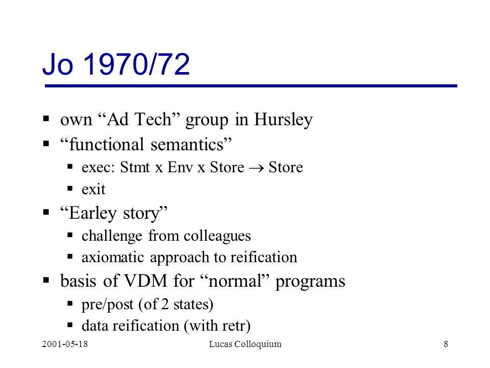 2001-05-18Lucas Colloquium8 Jo 1970/72  own Ad Tech group in Hursley  functional semantics  exec: Stmt x Env x Store  Store  exit  Earley story  challenge from colleagues  axiomatic approach to reification  basis of VDM for normal programs  pre/post (of 2 states)  data reification (with retr)