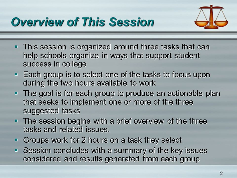 2 Overview of This Session  This session is organized around three tasks that can help schools organize in ways that support student success in colle