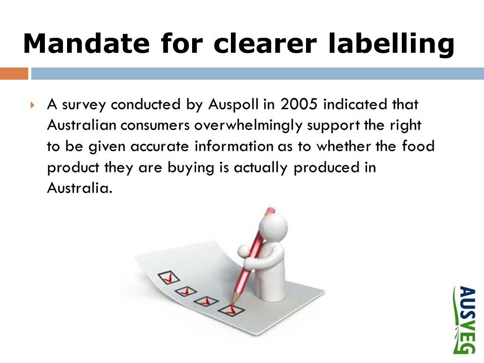 Mandate for clearer labelling  A survey conducted by Auspoll in 2005 indicated that Australian consumers overwhelmingly support the right to be given