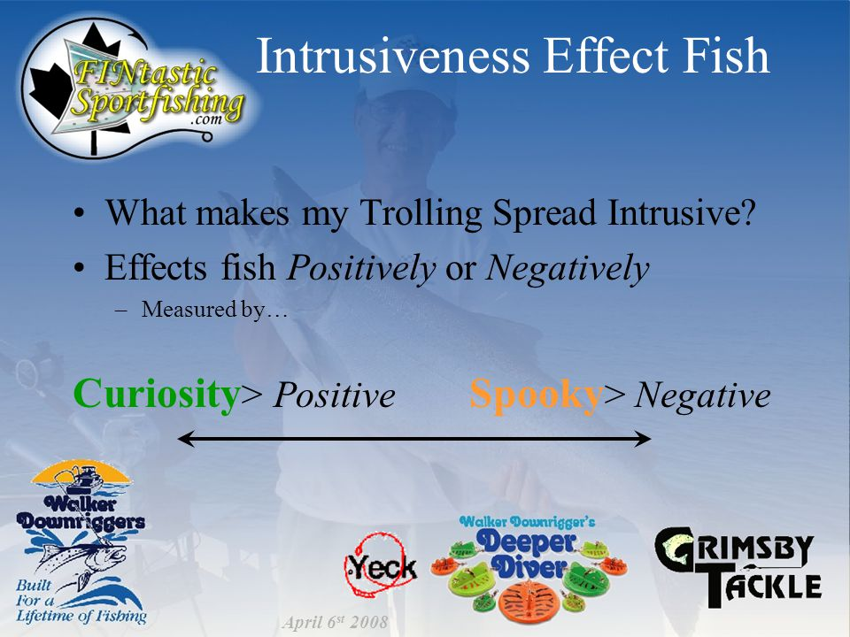 Intrusiveness Effect Fish What makes my Trolling Spread Intrusive.