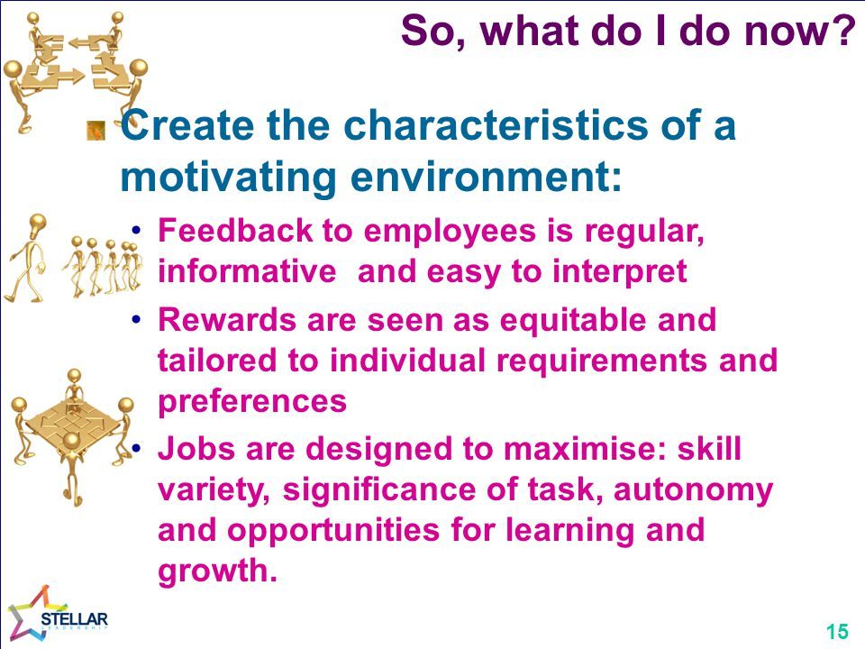 15 Create the characteristics of a motivating environment: Feedback to employees is regular, informative and easy to interpret Rewards are seen as equ
