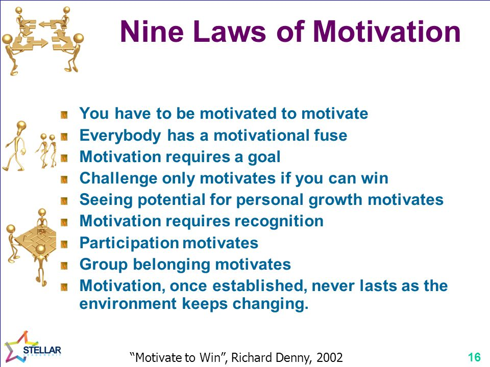 16 Nine Laws of Motivation You have to be motivated to motivate Everybody has a motivational fuse Motivation requires a goal Challenge only motivates