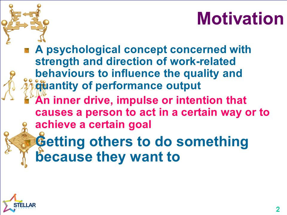 2 Motivation A psychological concept concerned with strength and direction of work-related behaviours to influence the quality and quantity of perform