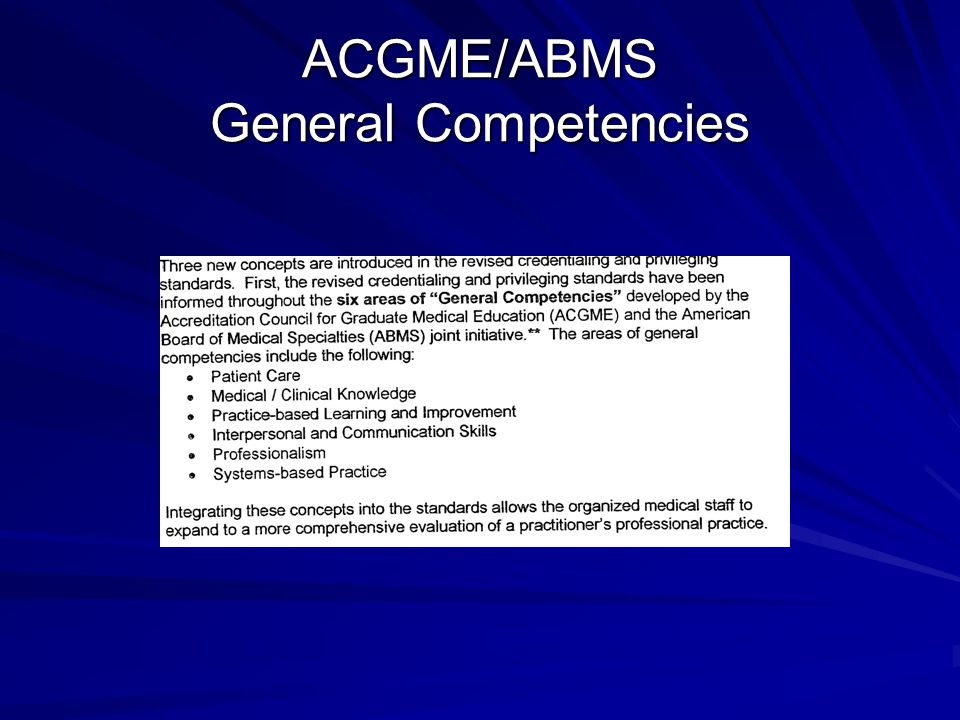 ACGME/ABMS General Competencies