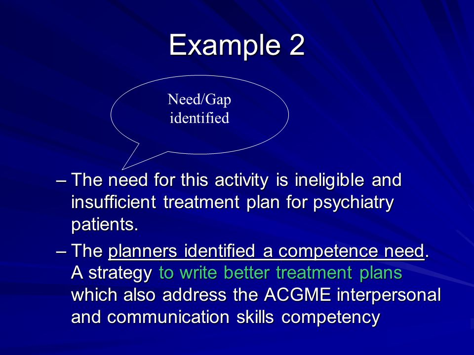 Example 2 –The need for this activity is ineligible and insufficient treatment plan for psychiatry patients.