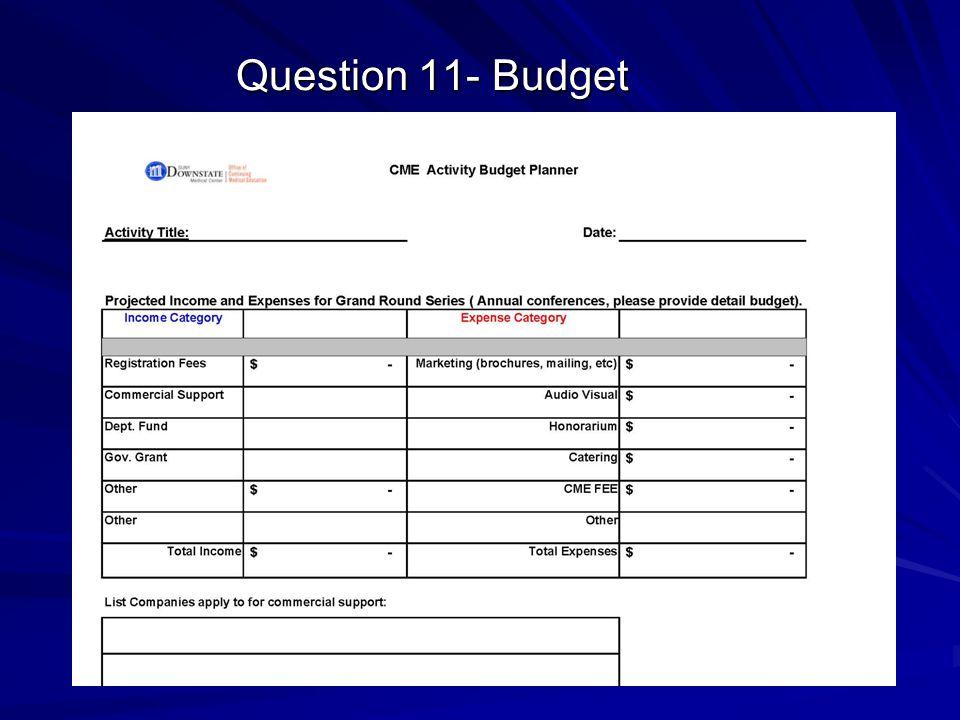 Question 11- Budget