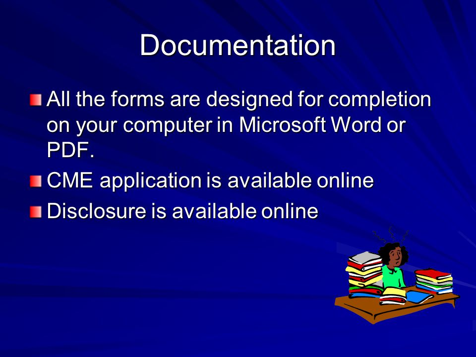 Documentation All the forms are designed for completion on your computer in Microsoft Word or PDF.