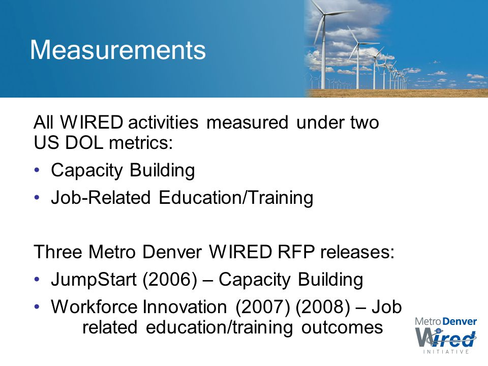Measurements All WIRED activities measured under two US DOL metrics: Capacity Building Job-Related Education/Training Three Metro Denver WIRED RFP releases: JumpStart (2006) – Capacity Building Workforce Innovation (2007) (2008) – Job related education/training outcomes