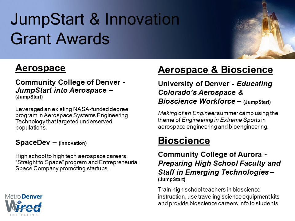 JumpStart & Innovation Grant Awards Aerospace Community College of Denver - JumpStart into Aerospace – (JumpStart) Leveraged an existing NASA-funded degree program in Aerospace Systems Engineering Technology that targeted underserved populations.