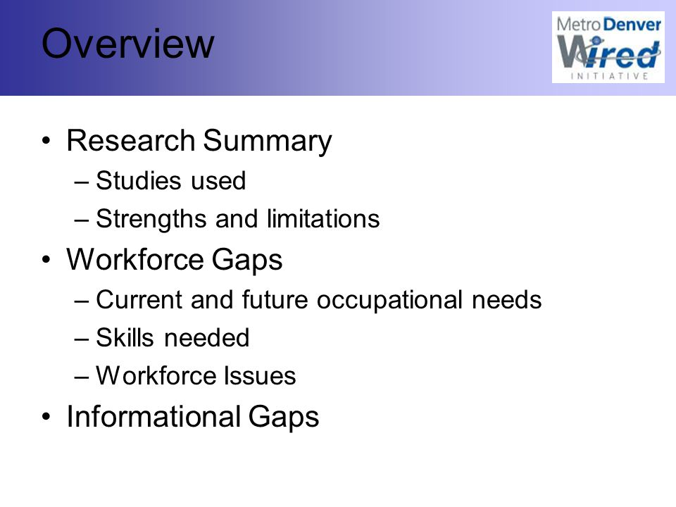 Overview Research Summary –Studies used –Strengths and limitations Workforce Gaps –Current and future occupational needs –Skills needed –Workforce Issues Informational Gaps