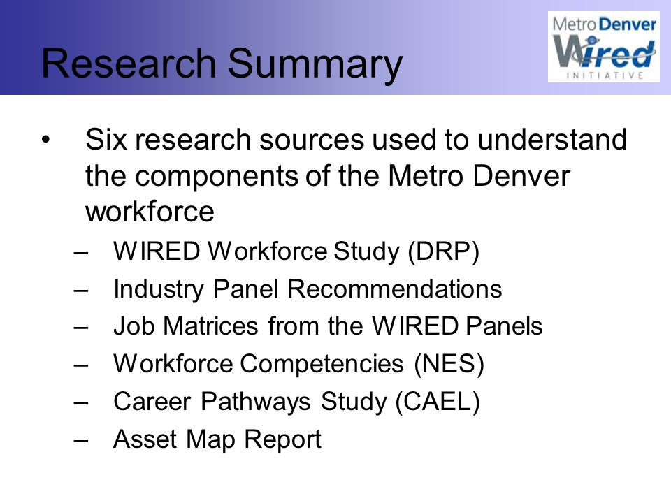 Research Summary Six research sources used to understand the components of the Metro Denver workforce –WIRED Workforce Study (DRP) –Industry Panel Recommendations –Job Matrices from the WIRED Panels –Workforce Competencies (NES) –Career Pathways Study (CAEL) –Asset Map Report
