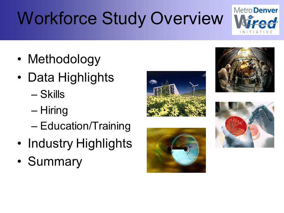 Workforce Study Overview Methodology Data Highlights –Skills –Hiring –Education/Training Industry Highlights Summary
