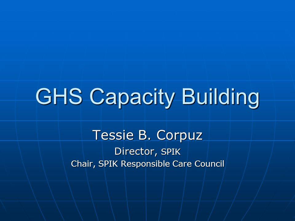 GHS Capacity Building Tessie B. Corpuz Director, SPIK Chair, SPIK Responsible Care Council