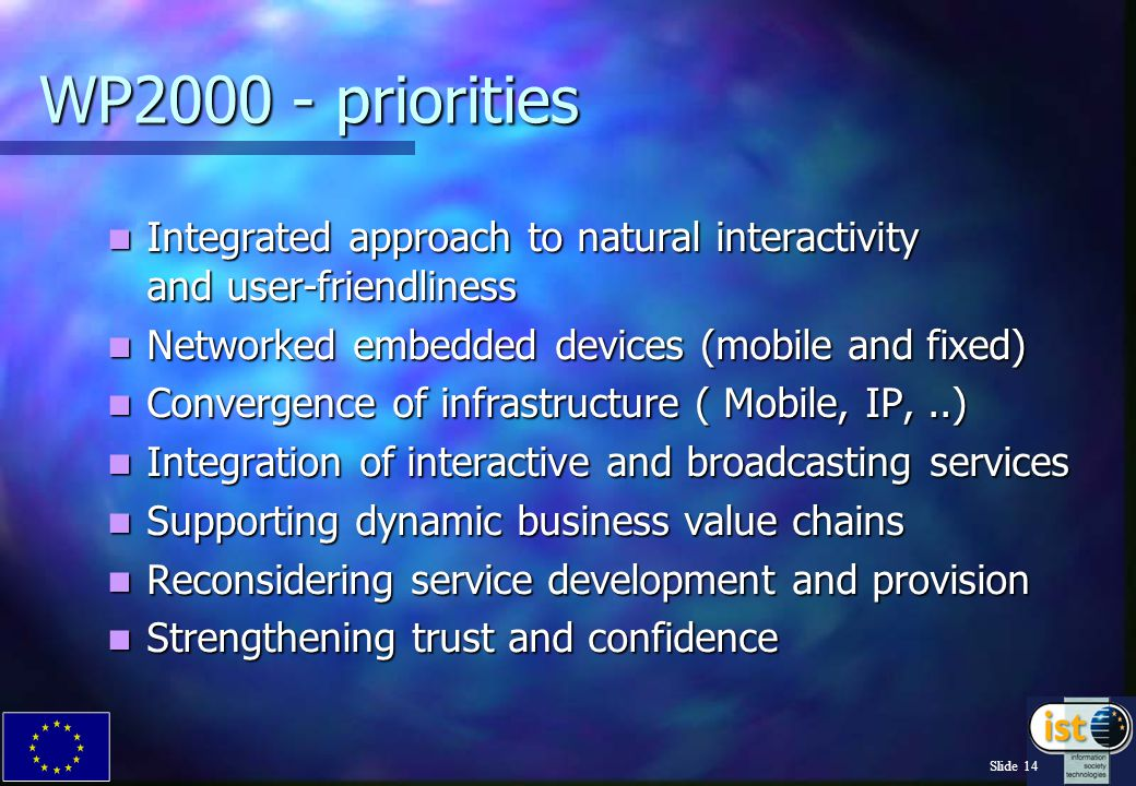 Slide 14 WP2000 - priorities Integrated approach to natural interactivity and user-friendliness Integrated approach to natural interactivity and user-friendliness Networked embedded devices (mobile and fixed) Networked embedded devices (mobile and fixed) Convergence of infrastructure ( Mobile, IP,..) Convergence of infrastructure ( Mobile, IP,..) Integration of interactive and broadcasting services Integration of interactive and broadcasting services Supporting dynamic business value chains Supporting dynamic business value chains Reconsidering service development and provision Reconsidering service development and provision Strengthening trust and confidence Strengthening trust and confidence