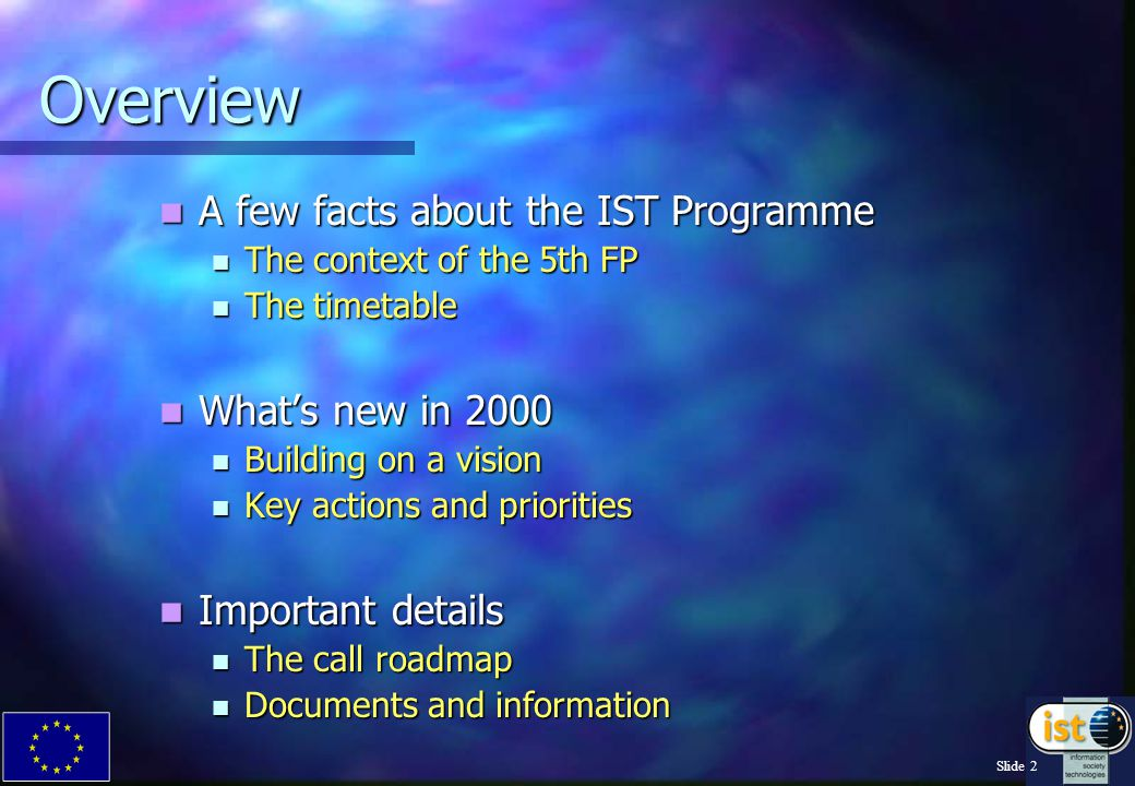 Slide 2 Overview A few facts about the IST Programme A few facts about the IST Programme The context of the 5th FP The context of the 5th FP The timetable The timetable What's new in 2000 What's new in 2000 Building on a vision Building on a vision Key actions and priorities Key actions and priorities Important details Important details The call roadmap The call roadmap Documents and information Documents and information
