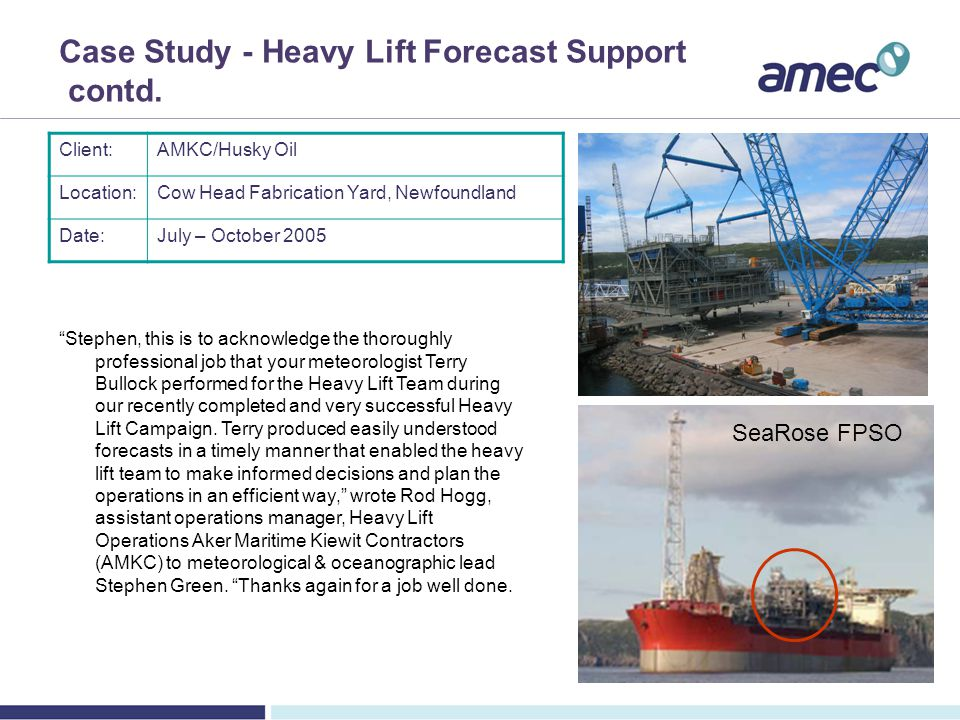 Case Study - Heavy Lift Forecast Support contd.