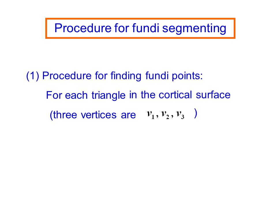 Procedure for fundi segmenting (1) Procedure for finding fundi points: in the cortical surface For each triangle (three vertices are )