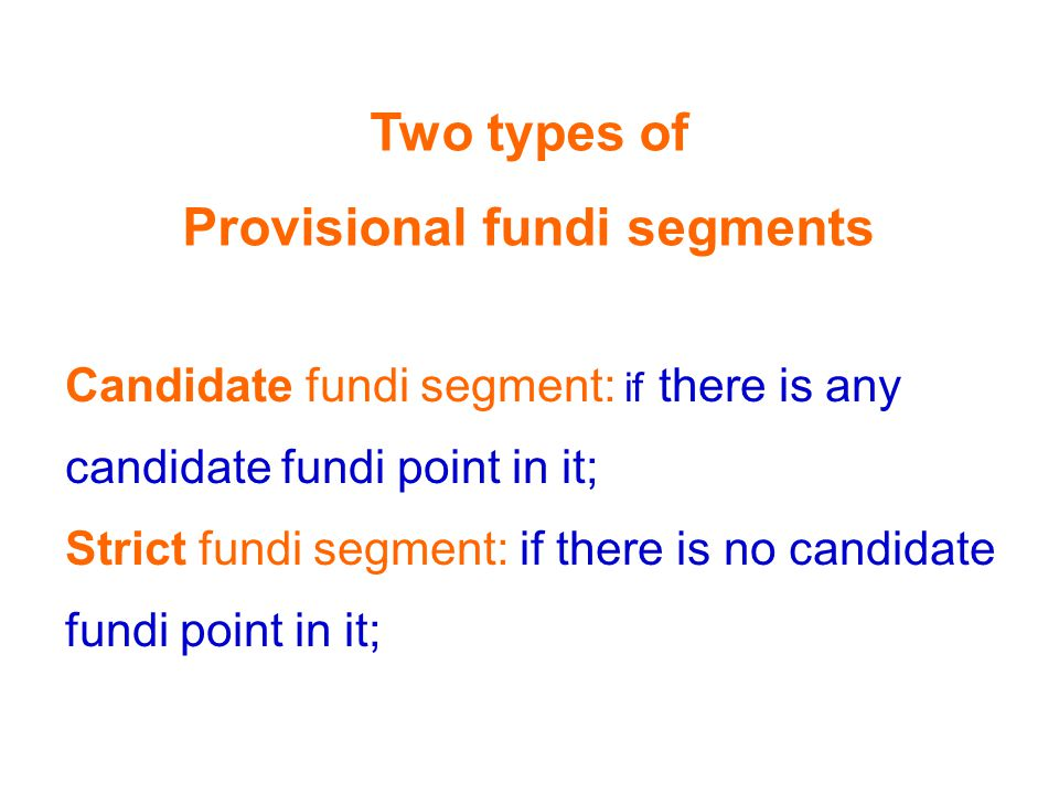 Candidate fundi segment: if there is any candidate fundi point in it; Strict fundi segment: if there is no candidate fundi point in it; Two types of Provisional fundi segments
