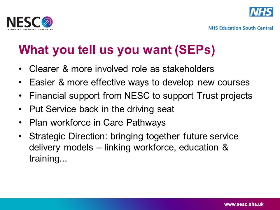What you tell us you want (SEPs) Clearer & more involved role as stakeholders Easier & more effective ways to develop new courses Financial support fr