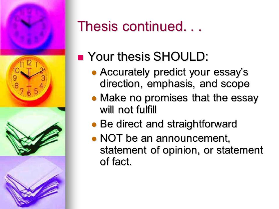 Thesis continued...