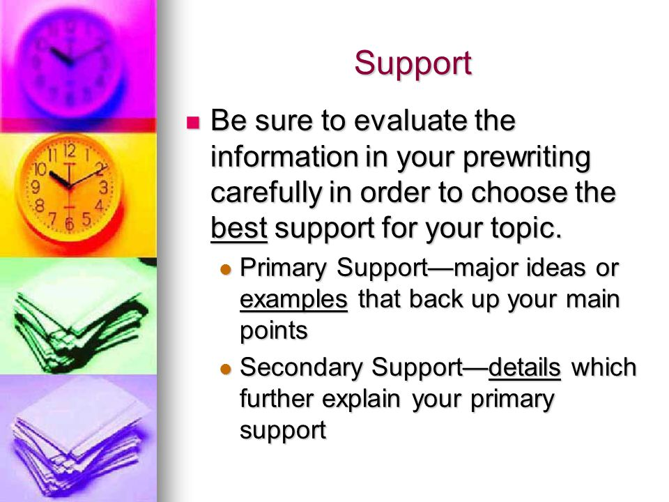 Support Be sure to evaluate the information in your prewriting carefully in order to choose the best support for your topic.