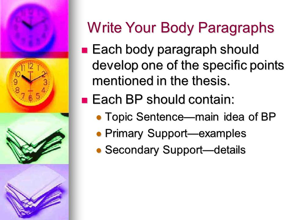 Write Your Body Paragraphs Each body paragraph should develop one of the specific points mentioned in the thesis.