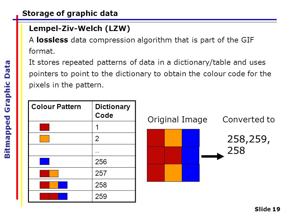 Slide 19 Storage of graphic data Bitmapped Graphic Data Lempel-Ziv-Welch (LZW) A lossless data compression algorithm that is part of the GIF format. I