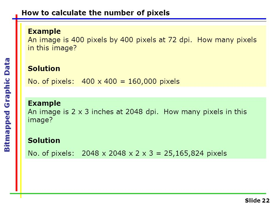 Slide 22 Bitmapped Graphic Data How to calculate the number of pixels Example An image is 400 pixels by 400 pixels at 72 dpi. How many pixels in this