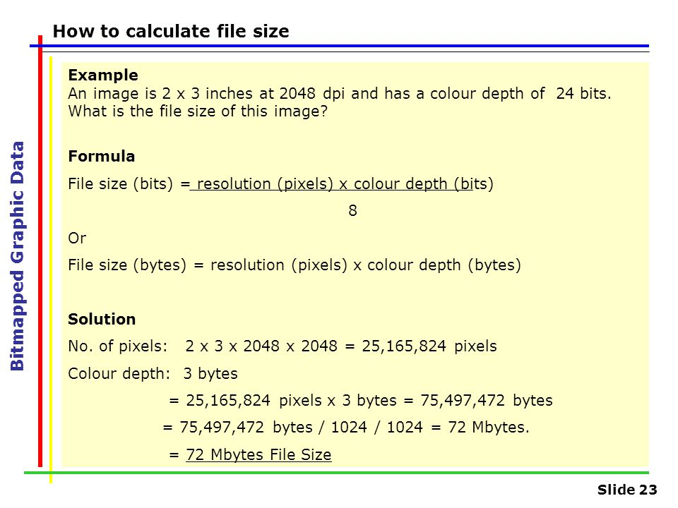Slide 23 Bitmapped Graphic Data How to calculate file size Example An image is 2 x 3 inches at 2048 dpi and has a colour depth of 24 bits. What is the