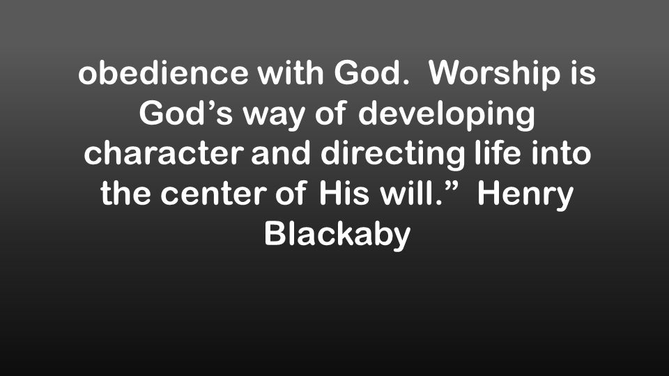 obedience with God.