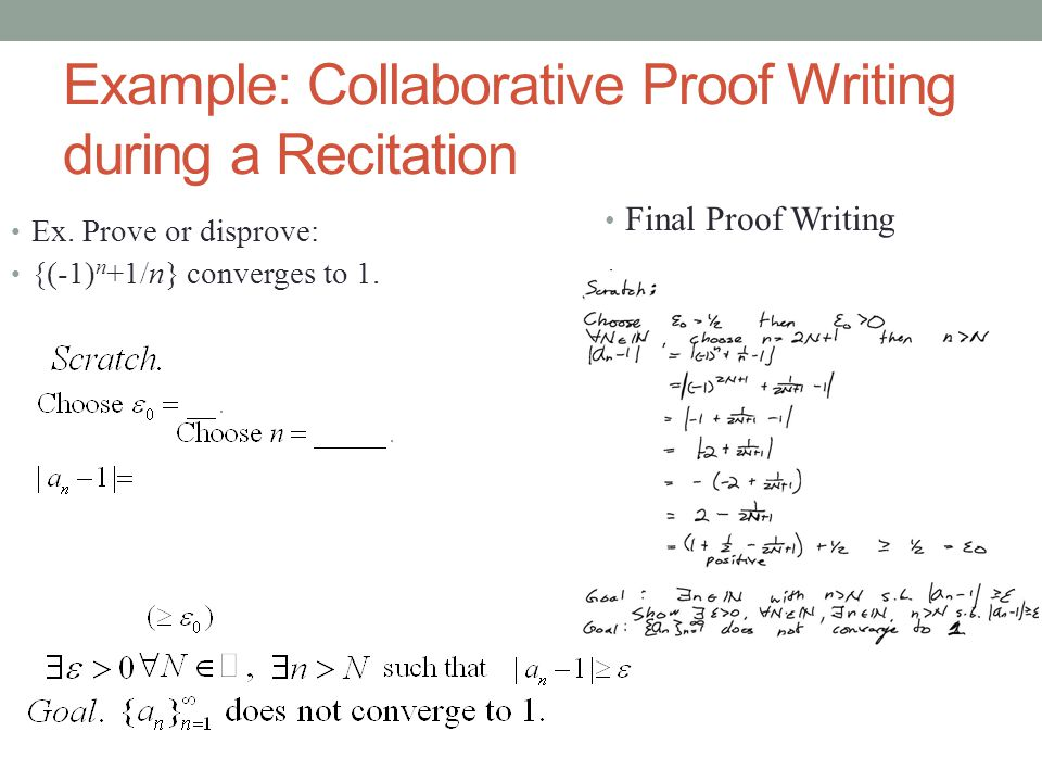 Example: Collaborative Proof Writing during a Recitation Ex.