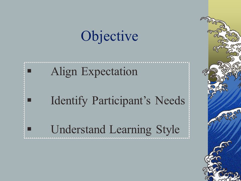 Objective  Align Expectation  Identify Participant's Needs  Understand Learning Style
