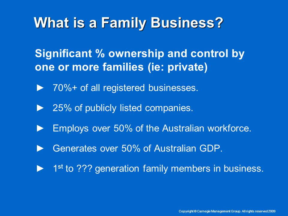 Copyright © Carnegie Management Group. All rights reserved 2009 What is a Family Business.