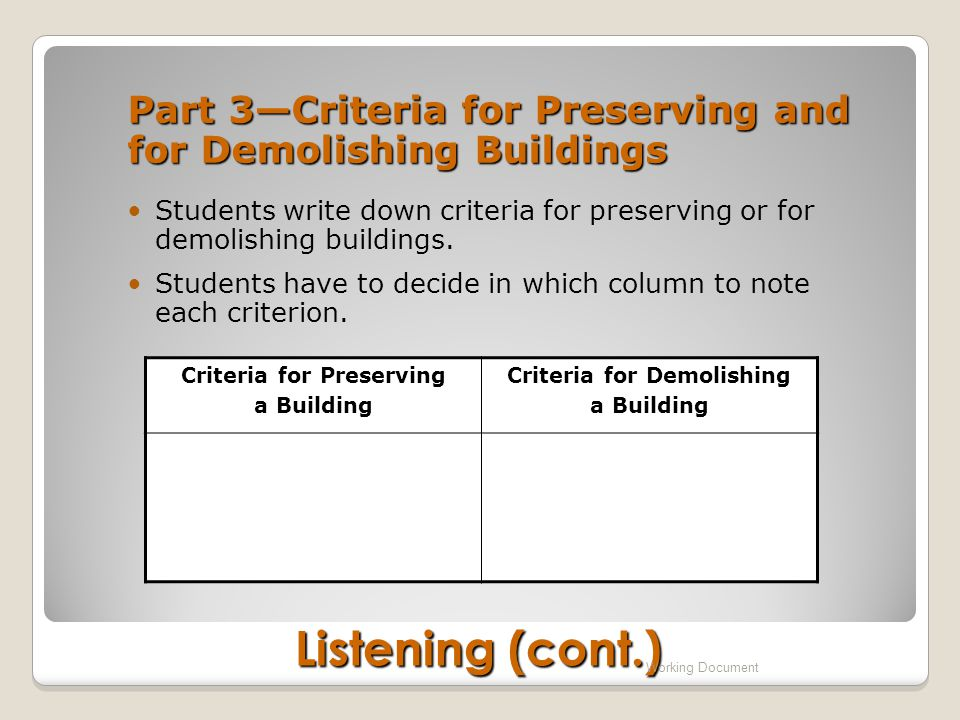 Part 3—Criteria for Preserving and for Demolishing Buildings Students write down criteria for preserving or for demolishing buildings.
