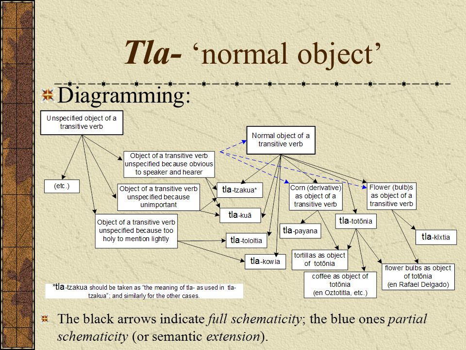 Tla- 'normal object' Diagramming: The black arrows indicate full schematicity; the blue ones partial schematicity (or semantic extension).