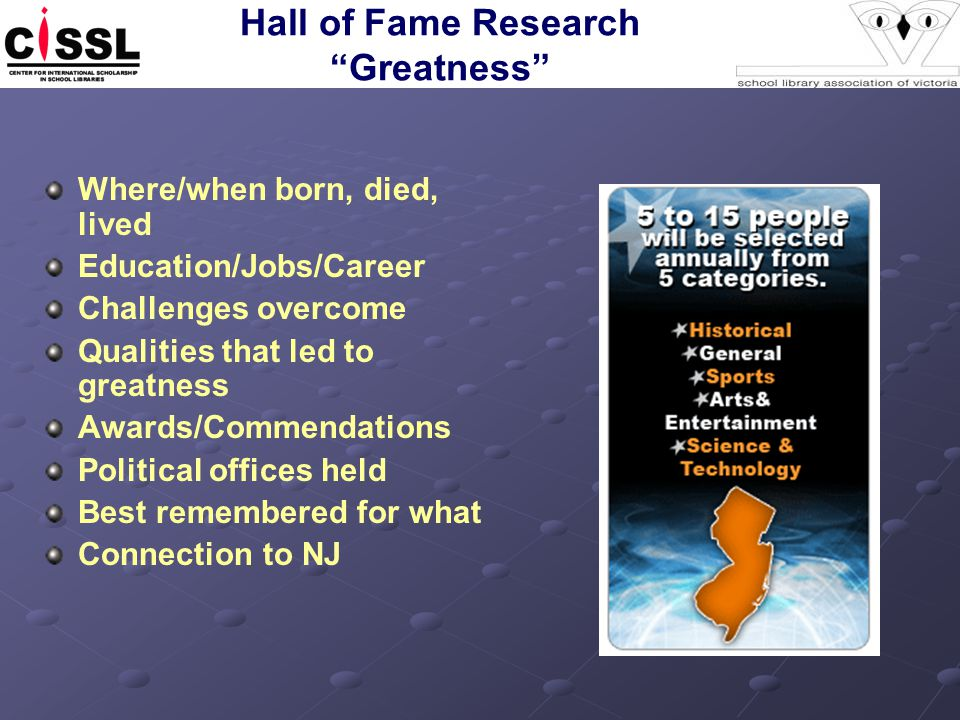 "Hall of Fame Research ""Greatness"" Where/when born, died, lived Education/Jobs/Career Challenges overcome Qualities that led to greatness Awards/Commen"