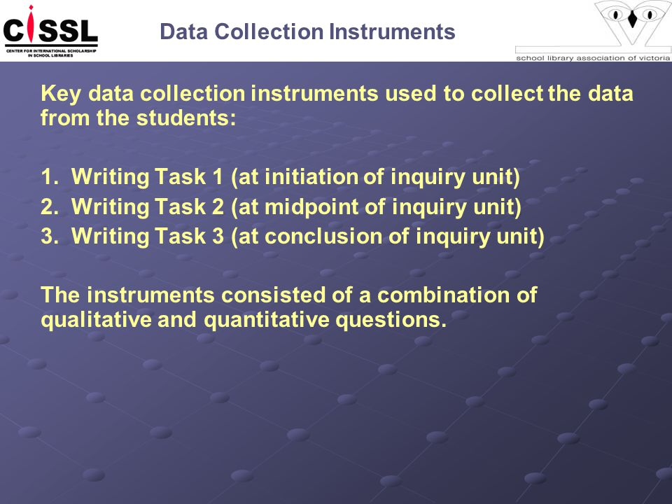Data Collection Instruments Key data collection instruments used to collect the data from the students: 1. Writing Task 1 (at initiation of inquiry un